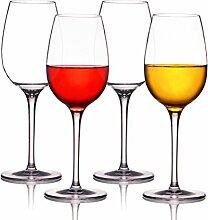 Kuke 4er Stemless Weinglas, 100% Bruchsicher Kunststoff Weingläser ohne Stiel Trinkbecher für Party, BBQ, Camping, Beach und Pool (12,5 OZ) (transparent)