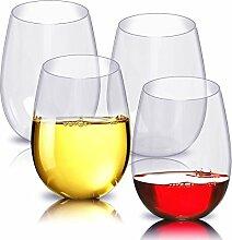 Kuke 4er Stemless Weinglas, 100% Bruchsicher Kunststoff Weingläser ohne Stiel Trinkbecher für Party, BBQ, Camping, Beach und Pool (16 OZ) (transparent)