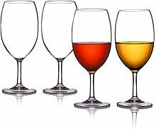 Kuke 4er Unzerbrechliche Stemless Weinglas, 100% Bruchsicher Kunststoff Rotweinglas ohne Stiel, BPA-frei, Spülmaschinenfest, Becher für Party, BBQ, Camping, Beach und Pool (Transparent, 18 OZ )