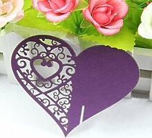 Kuke 50Herz Form Hochzeit Tisch Papier Tischkarte Weinglas Karten für Hochzeit Party Dekoration viole