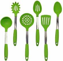Kuke 6 Stück Premium Edelstahl und Silikon Hitzebeständig Kochgeschirr Set hohe Qualität Küche Werkzeuge Grün