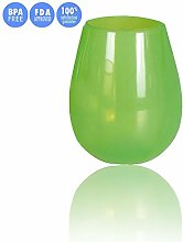 Kuke Premium Lebensmittel-Grad Klar Shatterproof Reusable Silikon-Weingläser Grün 12 oz