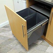 KuKoo ausziehbarer Mülleimer für die Küche Abfalleimer Einbaumülleimer Einbauabfallsammler Mülltrennsystem 49.5cm (H) x 56.5cm (B) x 48.4cm (D)