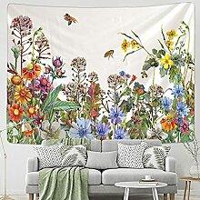 KUKUALE Blume Biene Tapisserie Wandbehang
