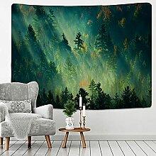 KUKUALE Grüner Wald Wandteppich Großer Baum 3D