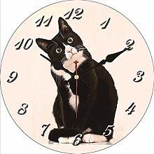 Kuletieas Shabby Chic Katze Wanduhr Silent Living