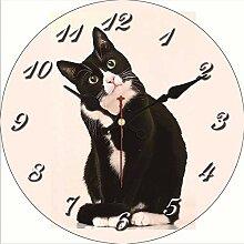 Kuletieas Vintage Wanduhr Kleine Katze Design