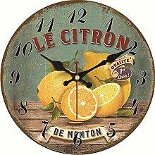 Kuletieas Vintage Wanduhr Zitrone Design Wanduhr