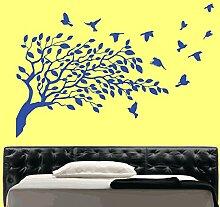 Kult Kanvas Wandaufkleber, Motiv: Fliegende Vögel und Baum, Blau glänzend, Large 60cm x 60cm