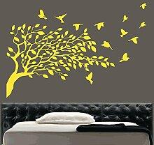Kult Kanvas Wandaufkleber, Motiv: Fliegende Vögel und Baum, gelb, Large 60cm x 60cm