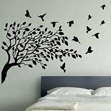 Kult Kanvas Wandaufkleber, Motiv: Fliegende Vögel und Baum, schwarz, XL 120cm x 176cm