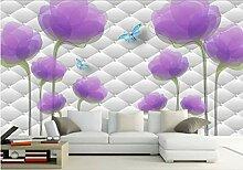 Kundenspezifische Blumentapetenwandbilder, Lila