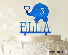 """Kundenspezifische Geburtstags Kuchendeckel Personalized Spiegel Cake Topper Color Option verfügbar 5 """"""""-7"""""""" Zoll brei"""