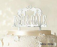 """Kundenspezifische Hochzeits Kuchendeckel Personalized Spiegel Cake Topper Color Option verfügbar 5 """"""""-7"""""""" Zoll brei"""