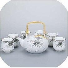 Kung Fu Teeset aus Porzellan, matt, Teekanne,