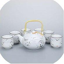 Kung Fu Teeset aus weißem Porzellan, matt,