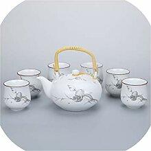 Kung Fu Teeset aus weißem Porzellan, mattes