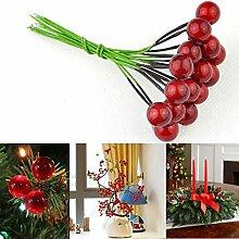 Kungfull Mall 10PCS künstliche Rot Frucht Kirschstechpalmen Beeren Weihnachts Dekoration