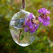 Kungfull Mall Ei Form Hängender Glas Vase Wasserkulturanlagen Pflanze Blume Container