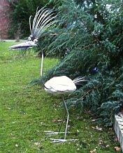 Kunigunde Gartenfigur und Gartendeko als Steinvogel aus Edelstahl und Stein Größe X ca 120 cm Design Tiedemann