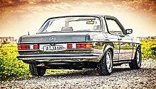 Kunst Druck Bild Mercedes C123 Heckansicht