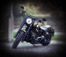 Kunst Druck Harley Davidson Fat Boy S cooles naked Bike Motorrad, Tapete Mousepad Acrylglas Aluminium Aufkleber (70 x 60 cm, Aluminium gebürstet)
