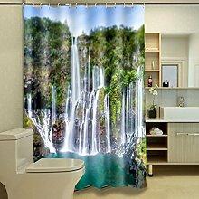 Kunst Duschvorhänge 3D Duschvorhänge mit Haken Wasserdichte Vorhang Badezimmer Duschvorhang Dicker Duschvorhang Outdoor Hof Duschvorhang (150 * 180cm, 165 * 180cm, 180 * 180cm,200*180cm,180*200cm) Mit Haken ( größe : 180*180cm )