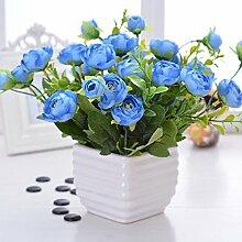 Kunstblume Blumen Kunstblumen, Emulation-Kit Dekoration Blumentopf Terrasse Bleu Lin