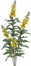 Kunstblume Fingerhut mit 80 Blättern, 5 Blütenrispen, gelb, 140 cm - Künstliche Blumen / Deko Pflanzen - artplants