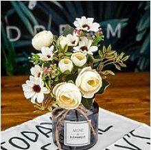 Kunstblume Künstliche Teerose Blumenstrauß