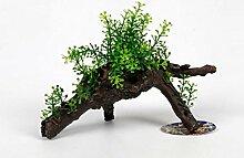 Kunstblume Pflanze Blätter in Kunststoff Stamm Terracotta Aquarium Terrarium