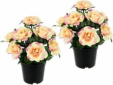 Kunstblume Rose im Topf