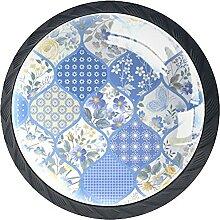 Kunstblumen Blau, 4Pack ABS Kommode Knöpfe
