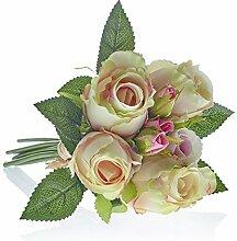 Kunstblumen, Kunstpflanze, Rosenstrauß, Creme, L: 30 cm | knuellermarkt.de | Hochzeitsdeko, Tischdeko Hochzeit, Tischdeko, Dekoration, Taufe, Kunstrose, Kommunion, Konfirmation