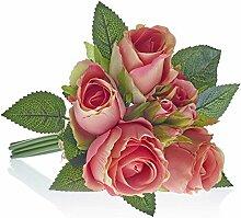 Kunstblumen, Kunstpflanze, Rosenstrauß, Pfirsich/Lachs, L: 30 cm | knuellermarkt.de | Hochzeitsdeko, Tischdeko Hochzeit, Tischdeko, Dekoration, Taufe, Kunstrose, Kommunion, Konfirmation