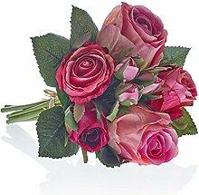 Kunstblumen, Kunstpflanze, Rosenstrauß, Pink/Rosa, L: 30 cm | knuellermarkt.de | Hochzeitsdeko, Tischdeko Hochzeit, Tischdeko, Dekoration, Taufe, Kunstrose, Kommunion, Konfirmation