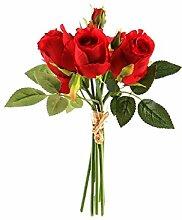 Kunstblumen, Kunstpflanze, Rosenstrauß, Rot, L: