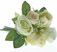 Kunstblumen, Kunstpflanze, Rosenstrauß, Weiß, L: