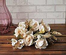 Kunstblumen Yiting Europäische Rosen Imitation silk Blume fake Wohnzimmer Dekoration, Weiß