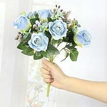 Kunstblumen YitingHome rose Simulation Dekoration, blau