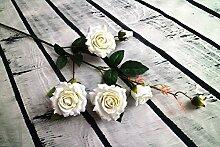 Kunstblumen Yiting Home Zubehör kreative Hochzeit einzige Zweigstelle Gesamthöhe 85 cm, weiss