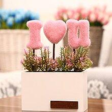 Kunstblumen Yiting Kreative Topfpflanzen Dekoration, Rosa
