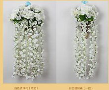 Kunstblumen Yiting Violett Hochzeit Dekoration Blumen an der Wand Blume simulation Hortensie, Weiß