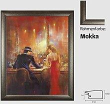 Kunstdruck ALVAREZ - After Midnight I In der Bar Mann und Frau gemalt 40 x 50 cm mit MDF-Bilderrahmen Pisa & Acrylglas reflexfrei, viele Farben zur Auswahl, hier Mokka