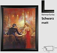 Kunstdruck ALVAREZ - After Midnight I In der Bar Mann und Frau gemalt 40 x 50 cm mit MDF-Bilderrahmen Pisa & Acrylglas reflexfrei, viele Farben zur Auswahl, hier Schwarz ma
