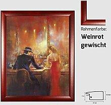 Kunstdruck ALVAREZ - After Midnight I In der Bar Mann und Frau gemalt 40 x 50 cm mit MDF-Bilderrahmen Pisa & Acrylglas reflexfrei, viele Farben zur Auswahl, hier Weinrot gewisch
