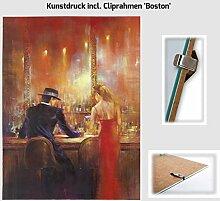 Kunstdruck ALVAREZ - After Midnight I In der Bar Mann und Frau gemalt 40 x 50 cm mit Cliprahmen 'Boston'