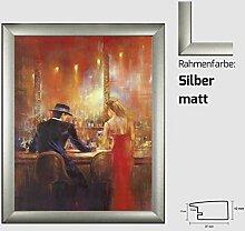 Kunstdruck ALVAREZ - After Midnight I In der Bar Mann und Frau gemalt 40 x 50 cm mit MDF-Bilderrahmen Pisa & Acrylglas reflexfrei, viele Farben zur Auswahl, hier Silber ma