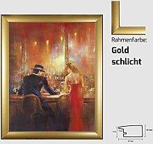 Kunstdruck ALVAREZ - After Midnight I In der Bar Mann und Frau gemalt 40 x 50 cm mit MDF-Bilderrahmen Pisa & Acrylglas reflexfrei, viele Farben zur Auswahl, hier Gold schlich
