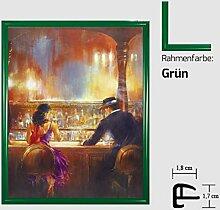Kunstdruck ALVAREZ - After Midnight II In der Bar Mann und Frau gemalt 40 x 50 cm mit Kunststoff-Bilderrahmen & Acrylglas reflexfrei, viele Farben zur Auswahl, hier Grün